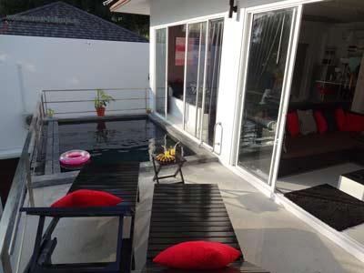 Photo 29 English, cheap pool terrace rooms and lounge, Koh Samui thailande